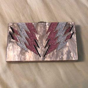 Fabulous clutch handbag with glitter detail.